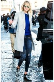 Ann Taylor sweater, Gerard Darel coat, Lovers + Friends jeans, and Krewe Du Optic sunglasses